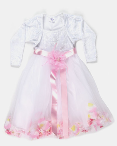 Fairyshop Flower Tulle Dress & Shrug Pink