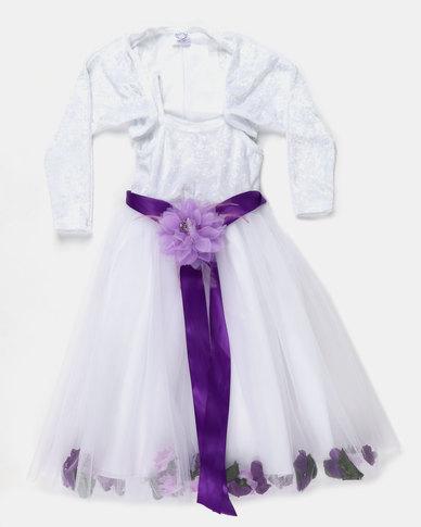 Fairyshop Flower Tulle Dress & Shrug Purple
