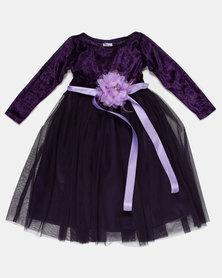 Fairyshop Flower Tulle Dress and Shrug Purple