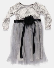 Fairyshop LS Satin & Soft Tulle Dress Silver