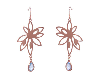 The Jeweller's Florist Bromelia Earrings - Rose Gold/Blue Topaz