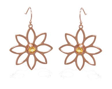 The Jeweller's Florist Namaqua Daisy Earrings - Rose gold/Citrine