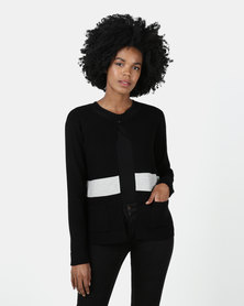 Queenspark Ripple Effect Colourblock Knitwear Cardigan Black