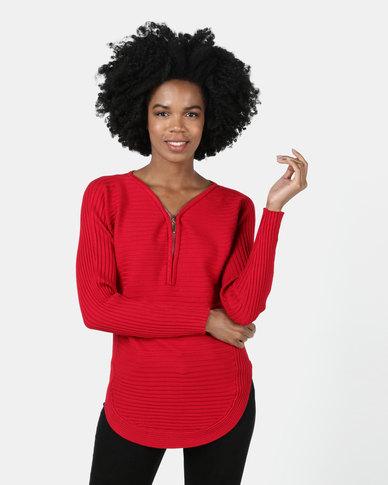 Queenspark Zip Detail Long Sleeve Knitwear Red
