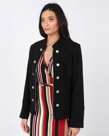 Cath Nic By Queenspark Military Style Woven Jacket Black/Abalone