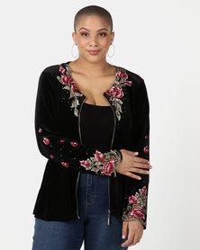 Queenspark Plus Collection Fancy Zip Velvet Knit Jacket  Black