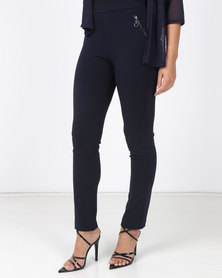 Miss Cassidy By Queenspark Pull-On Stretch Zip Detail Slacks Navy