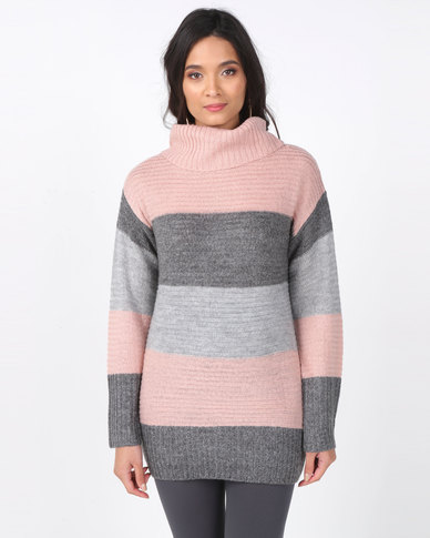 Miss Cassidy By Queenspark Stripe Chunky Knit Cowlneck Jersey Pink