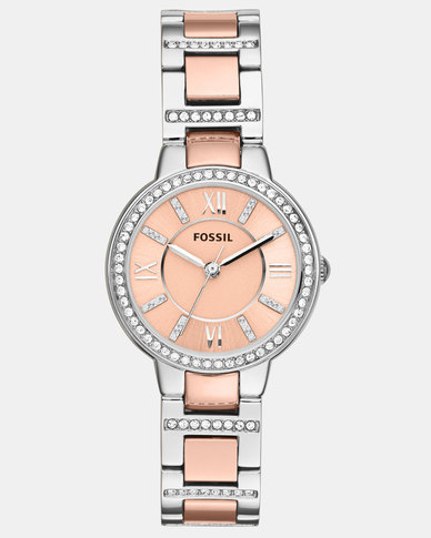 Fossil Virginia Stainless Steel Watch Silver/Rose Gold