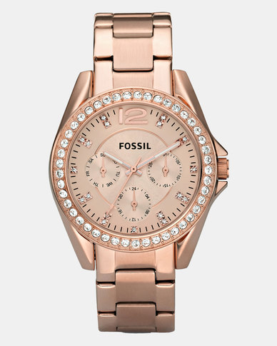 Fossil Riley Stainless Steel Watch Rose Gold