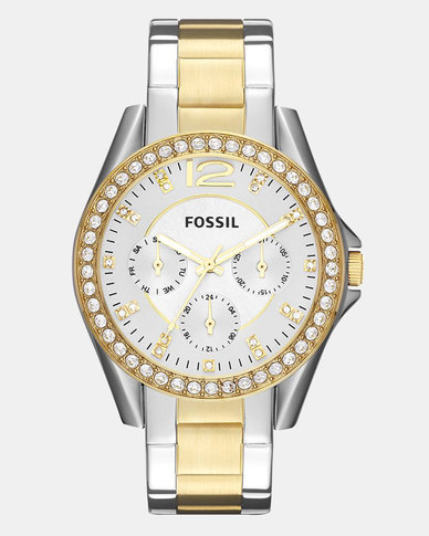 Fossil Riley Stainless Steel Watch Silver/Gold