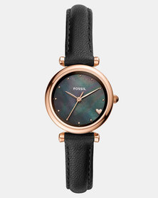 Fossil Carlie Leather Watch Black