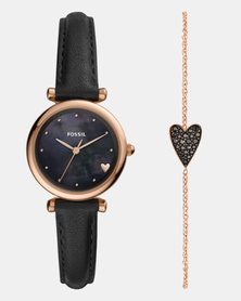 Fossil Carlie Leather Watch Set Black