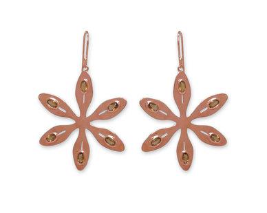 The Jeweller's Florist Agapanthus Earrings - Rose Gold/ Citrine
