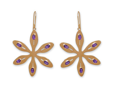 The Jeweller's Florist Agapanthus Earrings - Yellow gold /Amethyst
