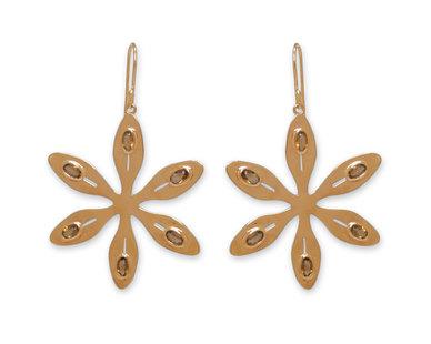 The Jeweller's Florist Agapanthus Earrings - Yellow Gold/Citrine