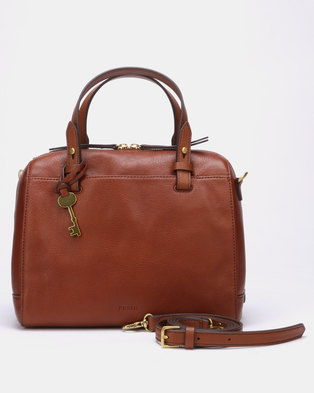 251f12651 Fossil Rachel Leather Satchel Bag Medium Brown