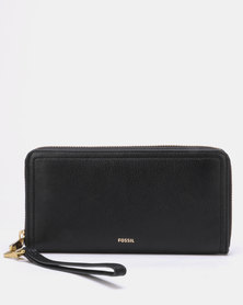 Fossil Logan Leather Zip Clutch Black