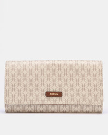 Fossil Logan Nylon/Synthetic Flap Clutch Khaki