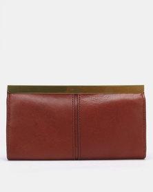 Fossil Kayla Henna Leather Frame Clutch Bag Brown