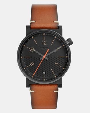 b81769d92 Fossil Barstow Leather Watch Brown   Zando