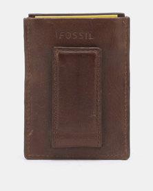Fossil Derrick Leather Card Case Dark Brown