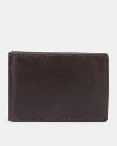 49786df645ee Fossil Derrick Leather Money Clip Bifold Wallet Dark Brown