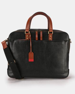 Fossil Defender Leather Double Zip Workbag Black