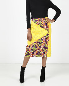 Black Buttons Print Sophia Pencil Skirt Yellow