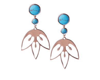 The Jeweller's Florist Tulip Earrings - Rose Gold/Turquoise