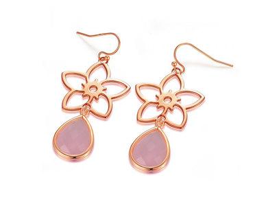 The Jeweller's Florist Frangipani Earrings - Rose Gold/Rose Quartz