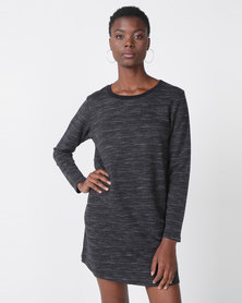 Roxy Love Sun Longsleeve Tee Dress Stripes Black