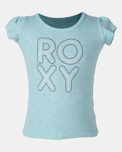 Roxy Bubble Typo Aquarelle Tee Blue