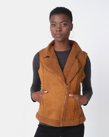 G Couture Brown Zip Sleeveless Gilet