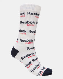 Reebok CL Graphic Crew Socks White