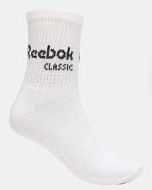 Reebok CL Core Crew Socks 3P White