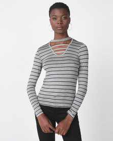Utopia Stripe Choker Knit Top Grey/Black