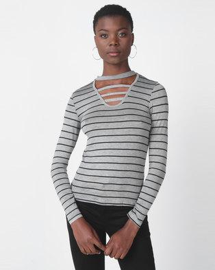Utopia Stripe Choker Knit Top Grey/Black