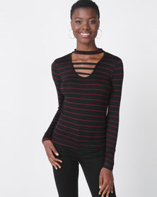 Utopia Stripe Choker Knit Top Black/Purple