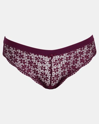 Legit Lace Brazilian Panty Purple