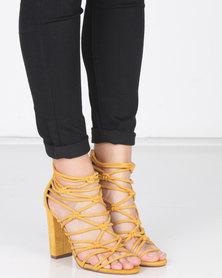 Legit Multi-Strap Block Heels with Back Zip Mustard