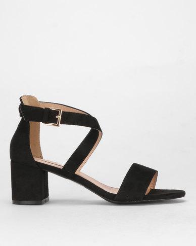 Legit Cross-over Closed Quarter Low Block Heel Sandal Black