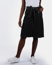 A-line Midi Tie Skirt Black