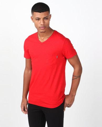 Swagga V-Neck Slub Textured T-Shirt Red