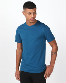 93d08e949 Swagga Basic Crew Neck Roll-Up T-Shirt Blue