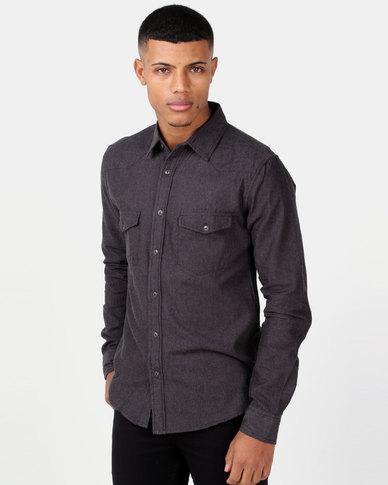 422af21bf1c2 Swagga LS Western Style Denim Shirt Black   Zando