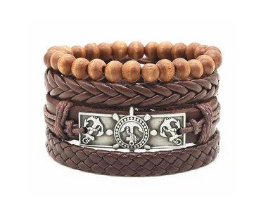 Urban Charm Vegan Leather Beaded Bracelet Stack Nautical - Brown