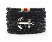 Urban Charm Vegan Leather Beaded Bracelet Stack Anchor - Black