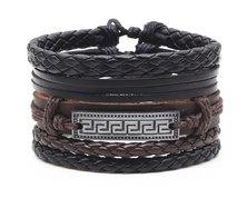 Urban Charm Vegan Leather Bracelet Stack Aztec - Black/Brown