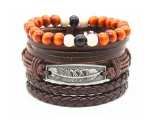 Urban Charm Vegan Leather Beaded Bracelet Stack Feather - Brown